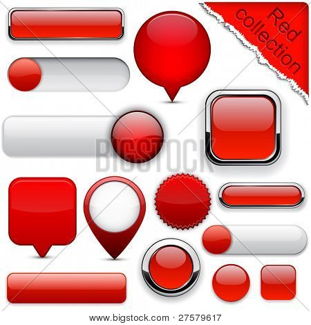 Blank red web buttons for website or app. Vector eps10.