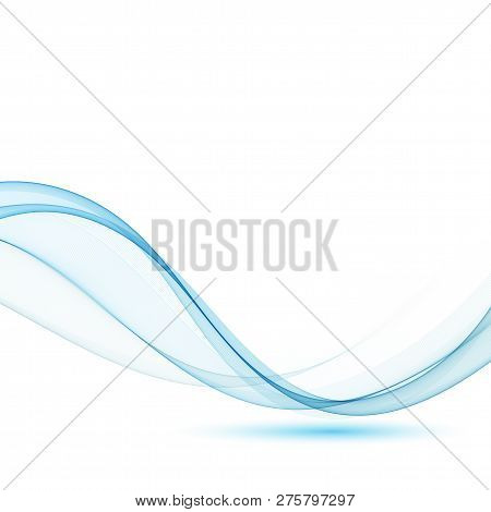 Blue Modern Abstract Lines Swoosh Certificate - Speed Smooth Wave Border Background. Vector Illustra