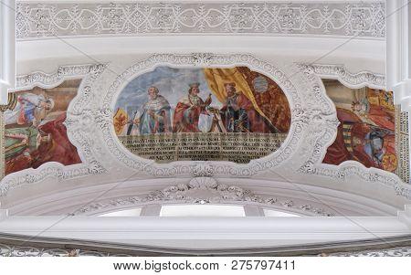 WEINGARTEN, GERMANY - JULY 12, 2018: Welf V, Welf VI, Heinrich der Schwarze fresco by Cosmas Damian Asam in the Basilica of St. Martin and Oswald in Weingarten, Germany