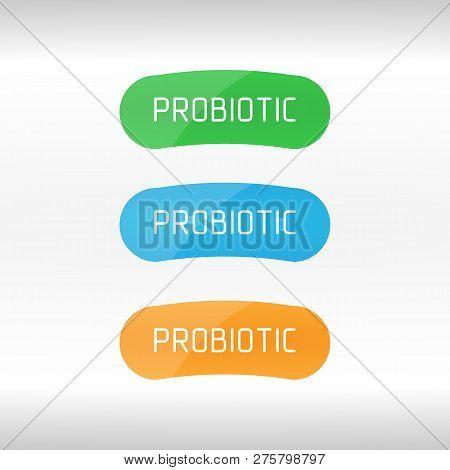 Probiotics Bacteria Vector Logo. Prebiotic, Lactobacillus Vector Icon Design. Concept Of Logo Or Vec