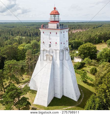 Historical Old Kopu Lighthouse, Hiiumaa Island, Estonia Aerial Drone Photo. Birds Eye View.