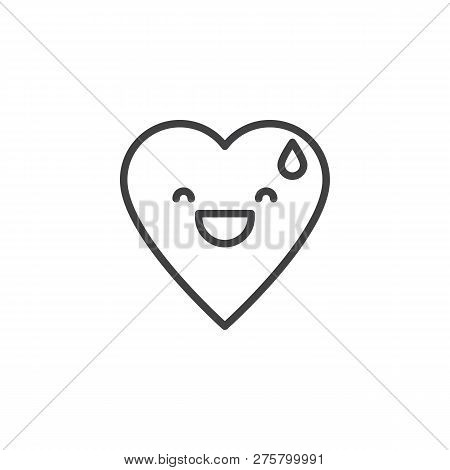Grinning Face With Sweat Emoticon Outline Icon. Linear Style Sign For Mobile Concept And Web Design.