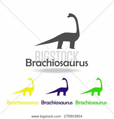 Brachiosaurus, Dinosaur Colored Icon. Can Be Used For Web, Logo, Mobile App, Ui, Ux