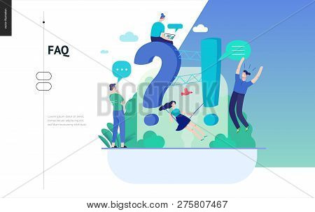 Business, Color 3- Faq -modern Flat Vector Concept Illustration Of Frequently Asked Questions People