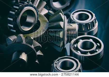 Gears, Bearings And Differential Stars Lie On The Table Close-up