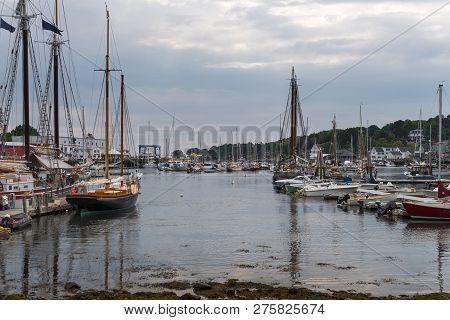 Camden Harbor Anchored Boats - Camden, Maine, Usa