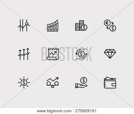 Economy Icons Set. Stock News And Economy Icons With Jewelry, Exchange And Profit. Set Of Deposit Fo