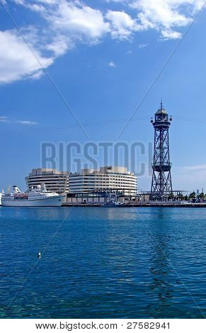 Cityscape Of Barcelona Harbour With Ropeway. Spain, Europe.
