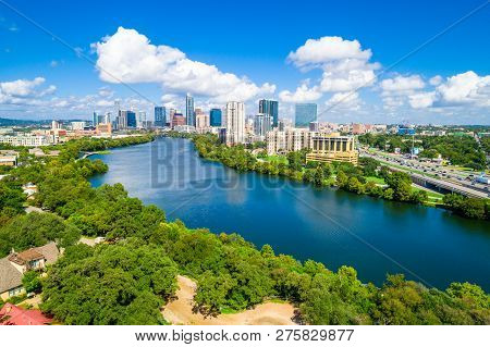 Austin , Texas Green Summer Time Cityscape Skyline - Aerial Drone View From Above Town Lake River Si