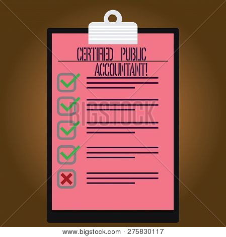 Writing Note Showing Certified Public Accountant. Business Photo Showcasing Accredited Professional