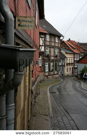 Street On A Rainy Day In Wernigerode