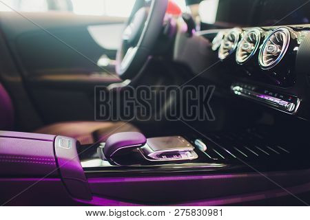 Car Interior. Modern Car Speedometer And Illuminated Dashboard. Luxurious Car Instrument Cluster. Cl