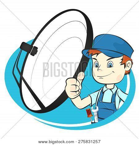 Satellite Dish Installation Vector Symbol Icon Logo