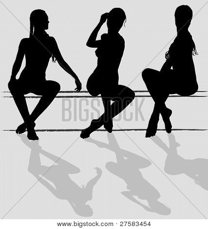 Three vector silhouettes of attractive young woman sitting