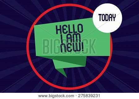 Word Writing Text Hello I Am New. Business Concept For Introducing Yourself To Unknown Showing Newbi