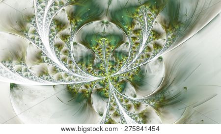 Beautiful Fractal Flower Or Butterfly With Glowing Elements. Abstract Fractal Symmetrical Shapes, Di