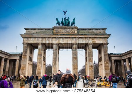 Berlin, Germany - March, 2018: The Brandenburg Gate Viewed From The Pariser Platz On The East Side I