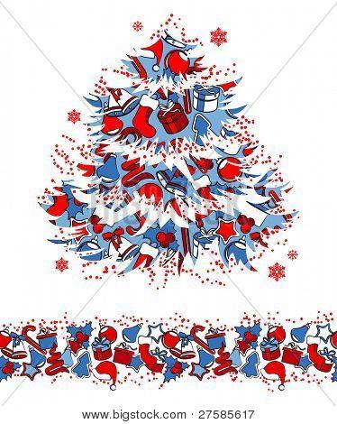 Christmas traditional tree and seamless border. Raster version.