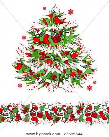 Christmas traditional tree and seamless border.Raster version