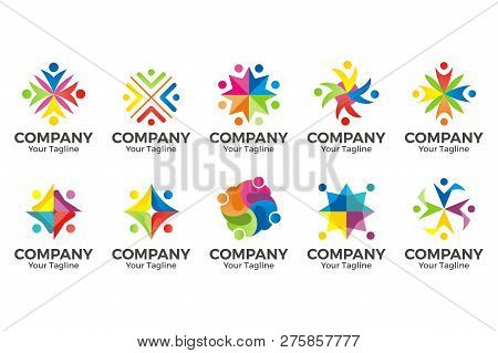 Human Character For Colorful Community Logo Set. Abstract Man Figure Logo. People Logo. Friendship I