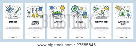 Web Site Onboarding Screens. Garden Tools Icons. Plant, Shovel, Seedling. Menu Vector Banner Templat