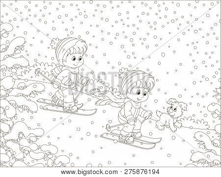 Small Children Skiing Down A Snow Hill In A Snow-covered Winter Park, Black And White Outline Vector