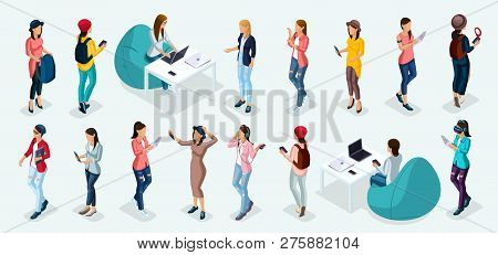 Trendy Isometric Vector People, 3d Person Teenagers, Modern Girl And Gadgets, Freelancers, Startup,