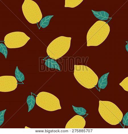 Fresh Lemon Fruit Seamless Pattern. Vector Illustration Wor Web