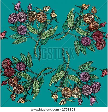 seamless pattern with chrysanthemum on navy blue background. vintage style
