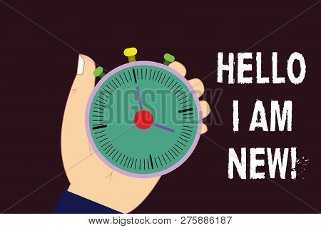 Text Sign Showing Hello I Am New. Conceptual Photo Introducing Yourself To Unknown Showing Newbie In