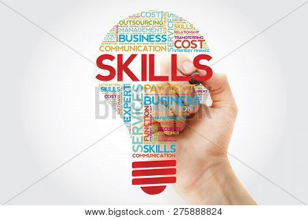 Skills Bulb Word Cloud With Marker, Business Concept Background