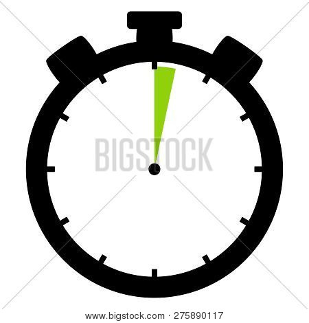 Isolated Stopwatch Icon Black Green Shows 2 Seconds Or 2 Minutes