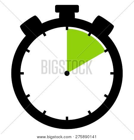 Isolated Stopwatch Icon Black Green Shows 10 Seconds 10 Minutes Or 2 Hours