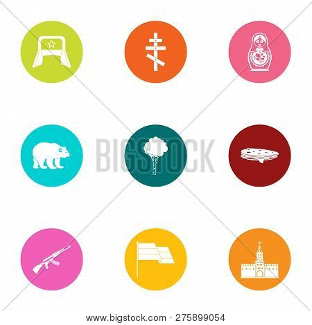 Russian Stereotype Icons Set. Flat Set Of 9 Russian Stereotype Icons For Web Isolated On White Backg