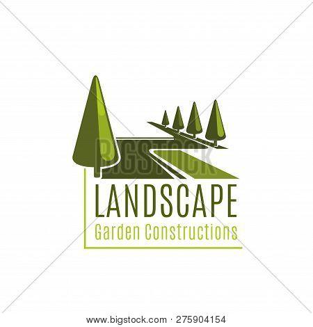 Landscape Sign For Gardening Business. Vector Symbol Of Landscape Garden Constructions. Vector Sign