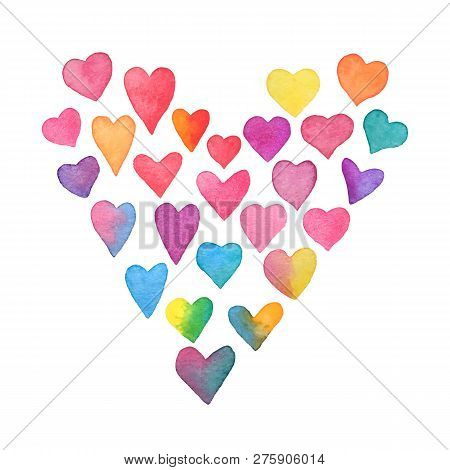 Watercolor Rainbow Hearts. Heart Shape Frame Isolated On White Background. Collection Of Hand Painte