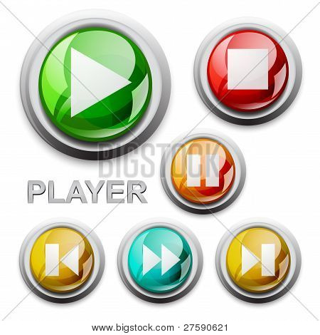 vector modern glossy icons, player