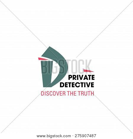 Letter D Icon For Detective Agency Or Police Investigation And Private Investigator Service. Vector