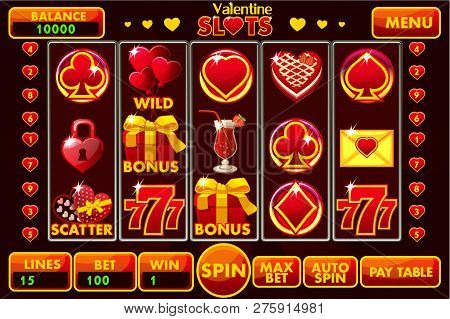 Vector Interface Slot Machine Style St. Valentine In Red Colored. Complete Menu Of Graphical User In