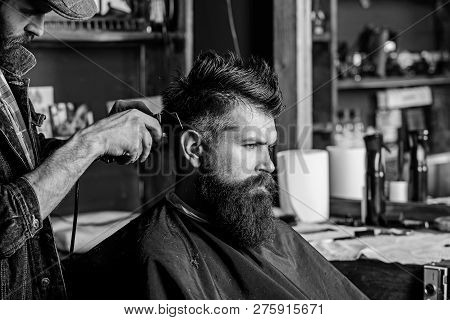 Barber With Hair Clipper Works On Hairstyle For Man With Beard, Barbershop Background. Barber Stylin