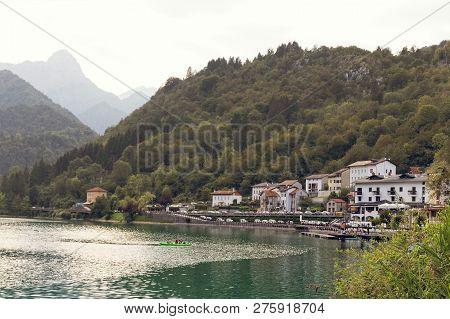 Barcis, Pordenone, Italy A Beautiful Mountain Village On Lake Barcis.