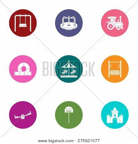 Teen Playground Icons Set. Flat Set Of 9 Teen Playground Icons For Web Isolated On White Background
