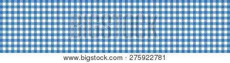 Wide Blue And White Checkered Tablecloth Banner