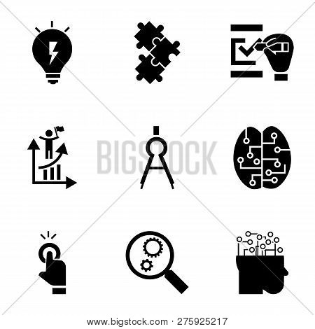 Find Solution Icon Set. Simple Set Of 9 Find Solution Icons For Web Design Isolated On White Backgro
