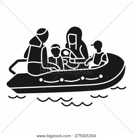 Migrant family boat icon. Simple illustration of migrant family boat icon for web design isolated on white background poster
