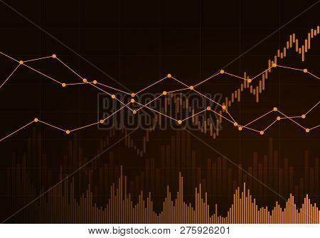 Illustration Of Orange Business Chart Of Growth And Fall In Stock, Money Or Commodity Prices With Li