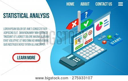 Statistical Analysis Concept Banner. Isometric Banner Of Statistical Analysis Concept For Web, Giftc
