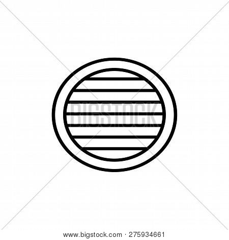 Black & White Vector Illustration Of Venetian Curtain Shutter. Line Icon Of Round Window Horizontal