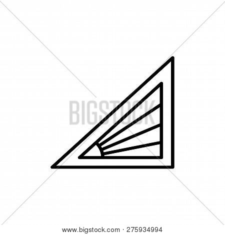 Black & White Vector Illustration Of Venetian Curtain Shutter. Line Icon Of Triangle Window Horizont