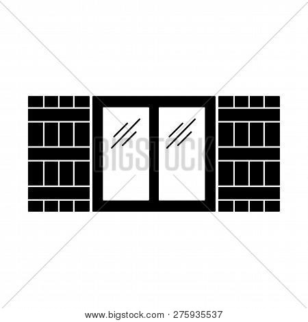 Black & White Illustration Of Old Window Shutter. Vector Flat Icon Of Wooden Vintage Outdoor Jalousi